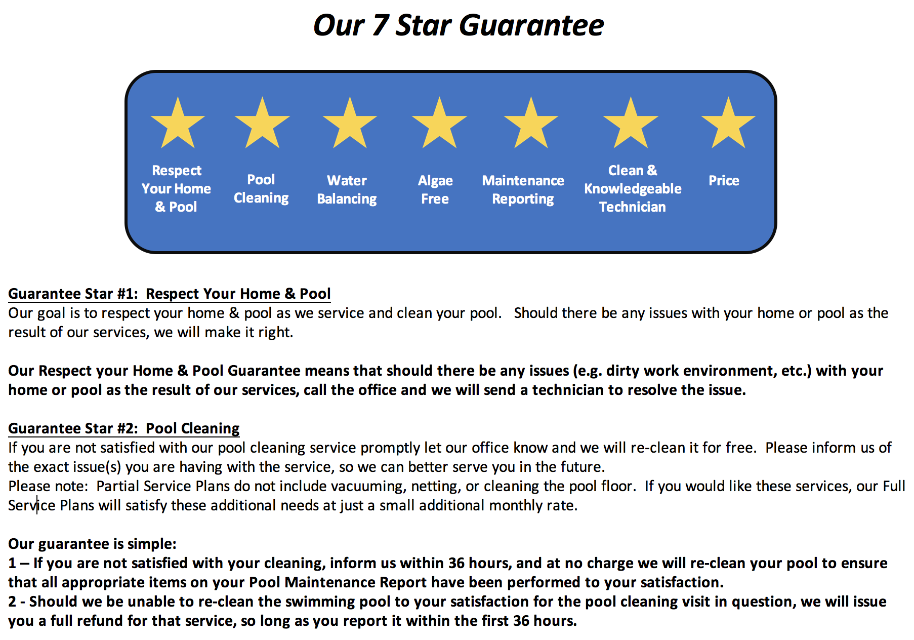 7 Star Tarrytown Pool Service Guarantee